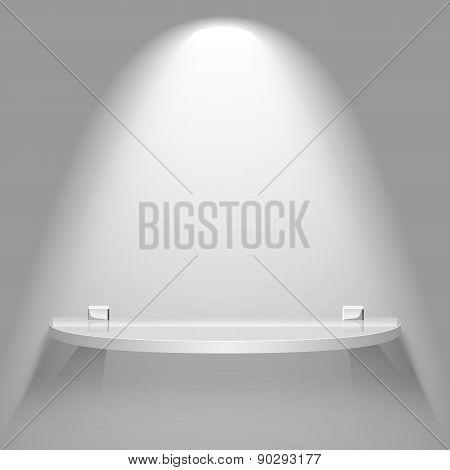 Empty Semicircular Glass Shelf Under Bright Soft Lighting Hanging On A Wall