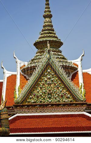 asia bangkok in temple thailand abstract cross colors roof wat sky and colors religion mosaic sunny poster