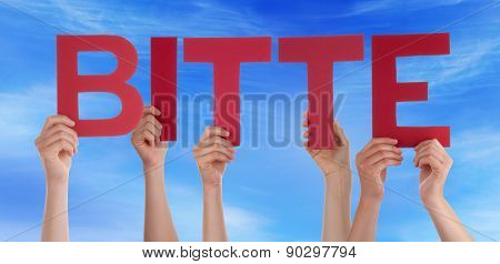 Many Caucasian People And Hands Holding Red Straight Letters Or Characters Building The German Word Bitte Which Means Please On Blue Sky poster