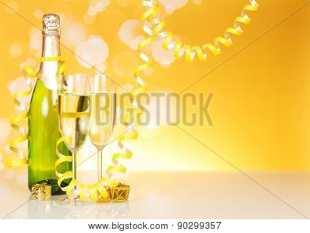The bottle of champagne