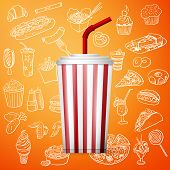soda fountain drink and hand draw fast food icon, excellent vector illustration, EPS 10 poster