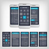 Vector set of modern flat design. Template mobile user interface. EPS10 illustration. Mobile app ui kit. poster