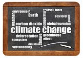 climate change word cloud on a vintage slate blackboard isolated  on white poster