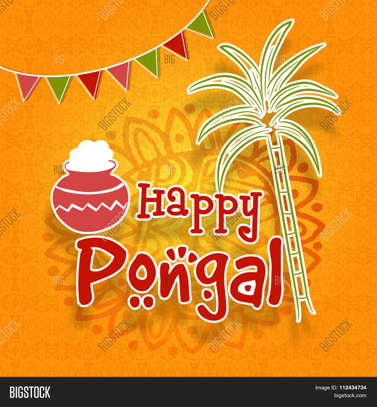 South indian harvesting festival vector photo bigstock south indian harvesting festival happy pongal celebration greeting card with sugarcane and traditional rice mud kristyandbryce Images