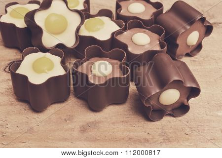 Candy Of Milk Chocolate On Wooden Background