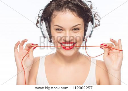 Young attractive woman wearing headphones.