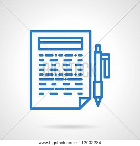 Writing reports blue line vector icon