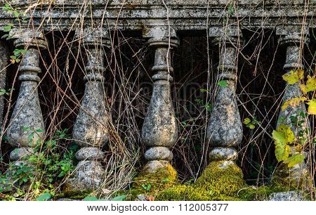 Stone bannister, ancient columns