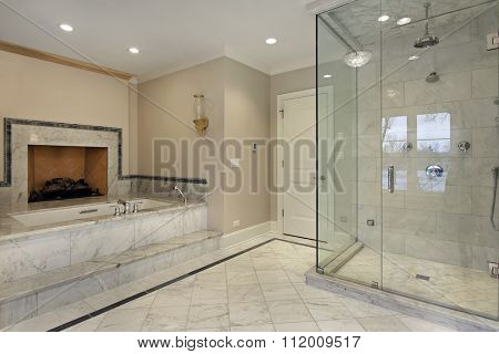 Master bath in new construction home with fireplace