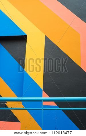 Facade With Geometric Painting