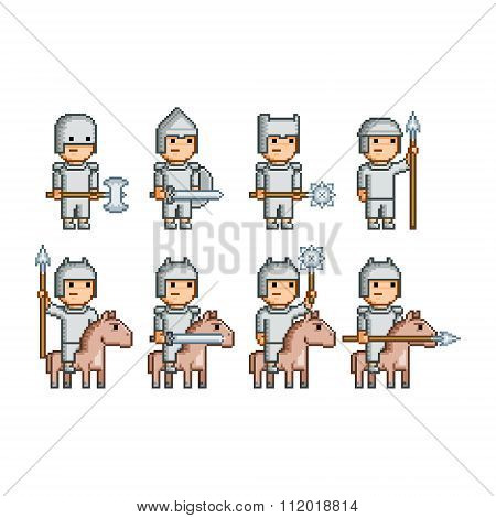 Pixel Art Army Of Knights And Horsemen