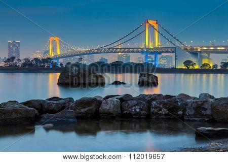 Twilight at Tokyo Bay at Rainbow Bridge,