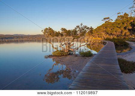 Sunset At The Merimbula Lake Boardwalk, Victoria, Australia