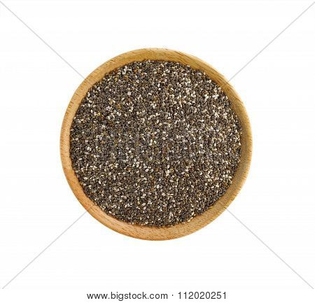 Chia Seeds In Wooden Plate On White Background