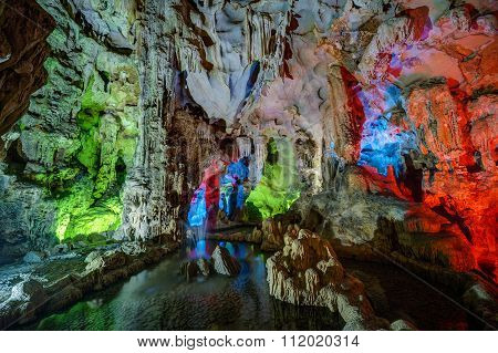 Colorful Illumination In Dau Go Cave In Halong Bay,  Vietnam