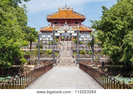View Of Gate And Pavilion In Imperial Minh Mang Tomb In  Hue