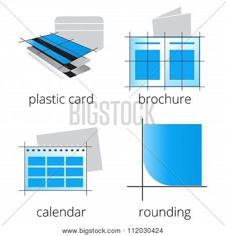 Printing shop services blue icons set. Part 3