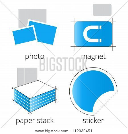 Printing shop services blue icons set. Part 5