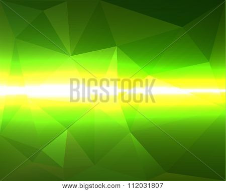 Abstract Polygonal Green Vector Bacground With Yellow And White Horizontal Lightningt With Shadows,