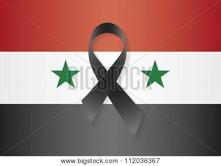 Syria Flag Black Ribbon