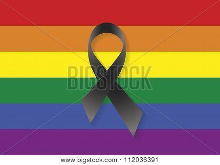 Gay Flag Black Ribbon