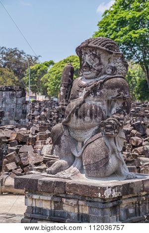 Statue In Candi Sewu, Part Of Prambanan Hindu Temple,  Indonesia