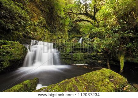 Small Falls Downstream From Mclean Falls, Catlins, New Zealand