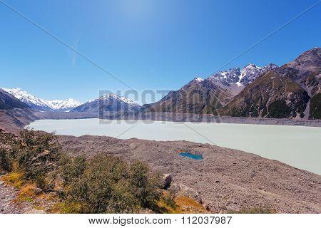Hooker Glacial Lake At Mount Cook National Park, New Zealand