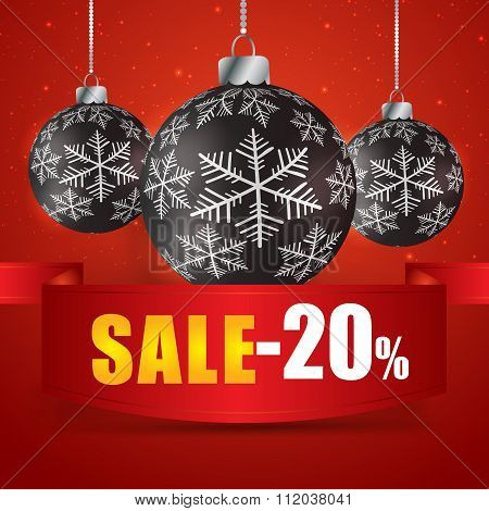 Winter Sale 20 Percent. Winter Sale With Red Background. Sale. Winter Sale. Christmas Sale. New Year
