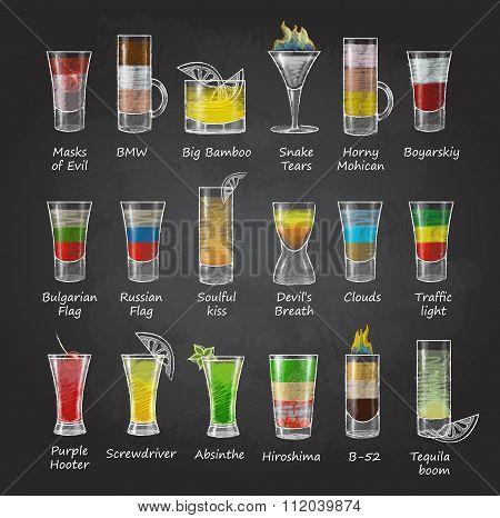 Chalk Drawings. Set Of Shot Cocktails. Menu