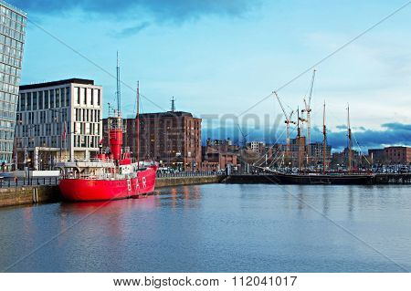 LIVERPOOL 16TH DECEMBER 2015 The Albert Dock Complex In Liverpool At Dusk