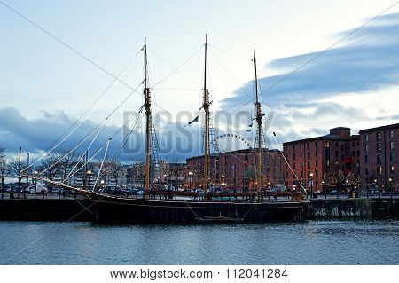 LIVERPOOL 16TH DECEMBER 2015. The Albert Dock complex in Liverpool at dusk