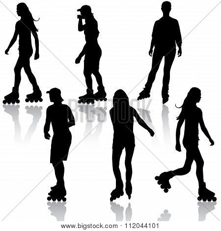 The Silhouettes of people rollerskating. Vector illustration.