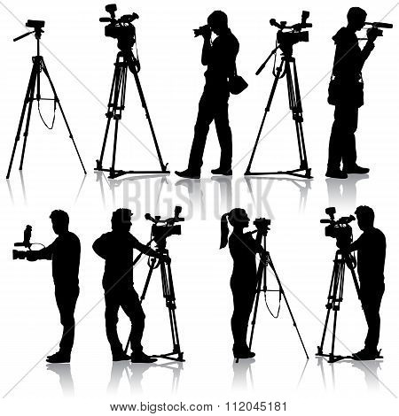 Cameraman with video camera. Silhouettes on white background. Vector illustration. poster