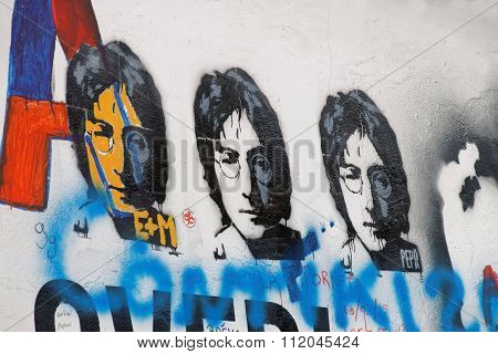 Colorful Graffiti Wall, Three Copies Of Lennon
