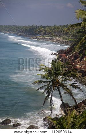 Sea In Varkala In Kerala State, India