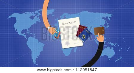 work permit application document passport id card