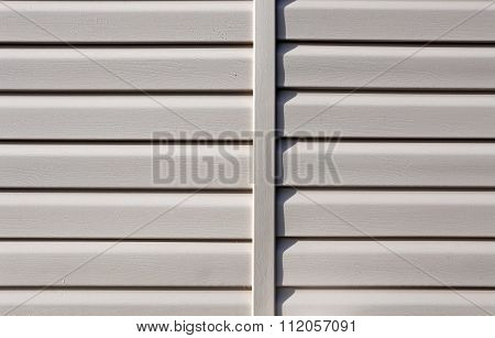 Installation On Facade Of The House Panels Beige Vinyl Siding