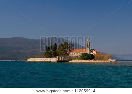 Monastery Gospa od milosti in Tivat bay Montenegro poster