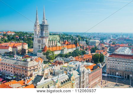 Jelacic square and catholic cathedral in the center of Zagreb, Croatia, panoramic view poster