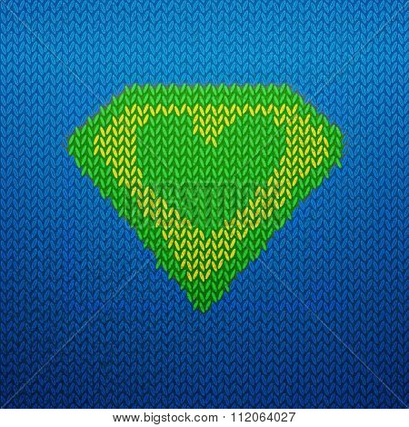 Knited superman icon with Green heart