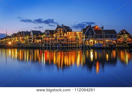Baywalk In Volendam On Christmas Night, The Netherlands
