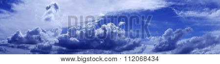 Blue Cloudscape Background Panorama