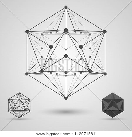 Monochrome frame of connected lines and dots. Great dodecahedron stereometric element.