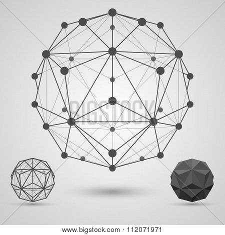 Monochrome carcass of connected lines and dots. Small triambic icosahedron geometric element.