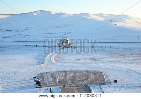 Top View From Genghis Khan Equestrian Statue In Winter Evening. Entrance Gate