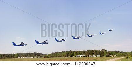 Seven Planes  Over The  Aerodrome