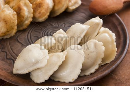 Dumplings with various fillings - traditional cooking food in many countries. poster