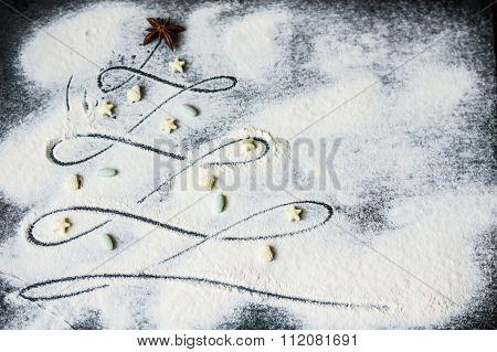 Christmas Tree In Flour
