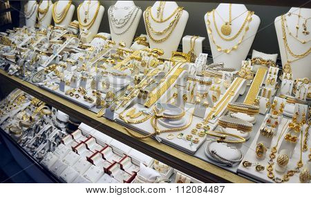 Jewellery display, expensive gold shop